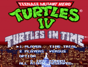 Teenage Mutant Hero Turtles IV Turtles in Time title screen